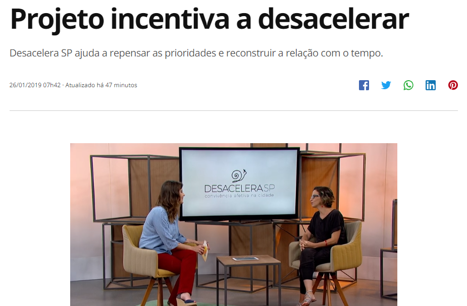 """Dia sem Pressa e Desacelera SP no programa """"Como Será?"""" (TV Globo)"""