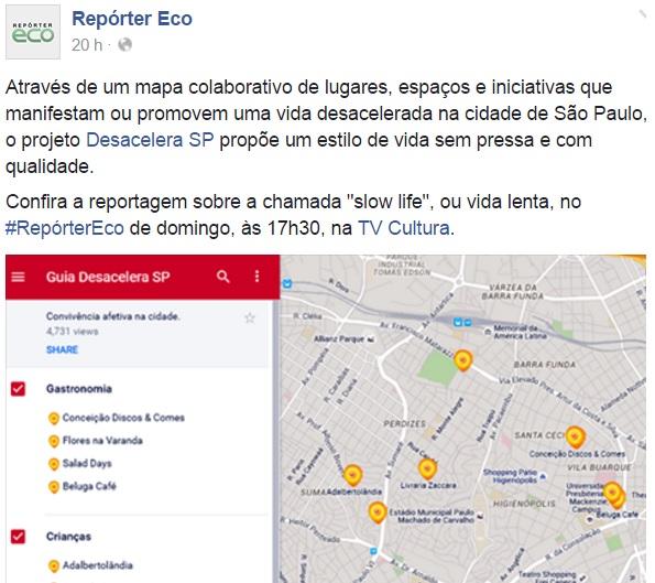 Desacelera SP é destaque da edição deste domingo do Repórter ECO, da TV Cultura